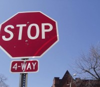 Four way stop in effect on Sixth Line & Oneida Road